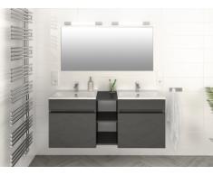 Ensemble KAHI - Meuble de salle de bain double vasque - Gris laqué