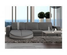 Canapé d'angle réversible en simili TALITA - Gris et bande gris clair