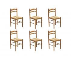 Lot de 6 chaises JEANNE - Hêtre massif & assise paille de riz