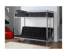 Pack MODULO IV - Lit mezzanine argent 90x190cm et son futon noir 135x190cm