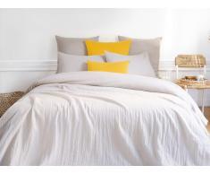 Parure de lit en gaze de coton LEGERO - housse de couette 220 x 240 + 2 taies d'oreiller 63 x 63 cm - gris
