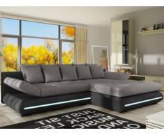 Canapé d'angle convertible en tissu et simili à leds MATTIAS - Noir et gris - Angle droit