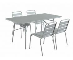 Salle à manger de jardin MIRMANDE en métal - une table L.160cm et 4 chaises empilables - Gris