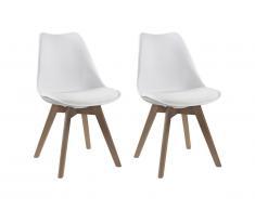 Lot de 2 chaises JODY - Polypropylène et Hêtre - Blanc