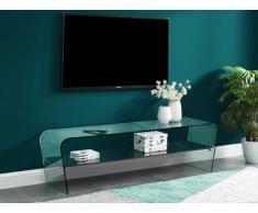 Meuble TV KELLY- Verre courbé & tablette noire