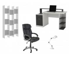 Pack Bureau 4 produits: Bureau ZACHARIE, fauteuil, étagère et lampe