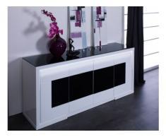 Buffet KIBO - 4 portes - MDF et verre trempé - Blanc et noir - Leds