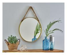 Miroir rond suspendu URIEL - D.51 cm - En métal et cordage - Laiton