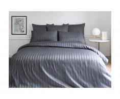 Parure de lit en satin ABILY - housse de couette 240 x 260 cm + 2 taies d'oreiller 63 x 63 cm - gris