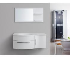 Ensemble de salle de bain NAIADE - meubles + vasque + miroir - Blanc