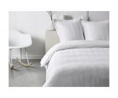 Parure de lit en percale CHAUMONT - couette 240x260cm + 2 taies 63x63cm - Blanc