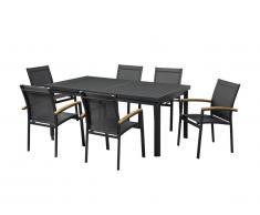 Salle à manger de jardin NAURU en aluminium : une table extensible 180/240cm et 6 fauteuils empilables avec accoudoirs acacia