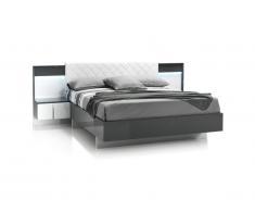 Lit CONSCIENCE - 160x200cm - 2 chevets avec LEDs intégrés - Laqué blanc et gris