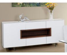 Buffet ELVIRA - 2 portes & 2 tiroirs - MDF & Verre trempé