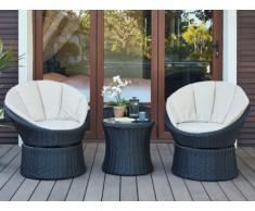 Salon de jardin SIBU en résine tressé chocolat : 2 fauteuils pivotants et une table basse