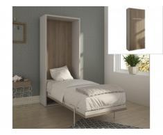 Lit escamotable EUGENIA ouverture verticale automatique - 90x200cm - Blanc/Chêne