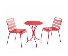 Salle à manger de jardin MIRMANDE en métal - une table D.60cm et 2 chaises empilables - Rouge