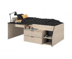 Lit GISELE avec bureau et rangements inclus - 90 x 200 cm - Chêne et Noir