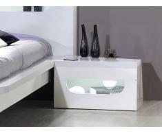 Chevet style design EVRARD - MDF laqué - 1 tiroir - Avec LEDs - Blanc