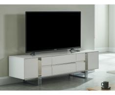 Meuble TV PETILLANTE - 2 portes & 2 tiroirs - MDF & métal chromé - Blanc laqué