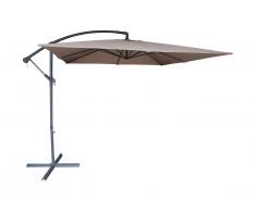 Parasol déporté CAPELINA carré en acier - D.2.5m x H.2.54m - taupe