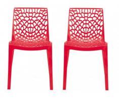 Lot de 2 chaises empilables DIADEME - Polypropylène - Rouge vermillon