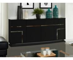 Buffet LUMINESCENCE - MDF laqué noir et LEDs - 4 portes