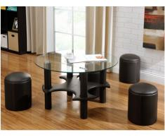 Table basse MAINSTREAM - Simili - 4 poufs inclus - Chocolat, surpiqures caramel