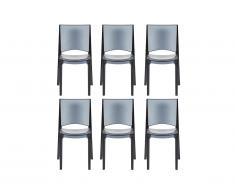 Lot de 6 chaises empilables HELLY - Polycarbonate plein - Gris ardoise
