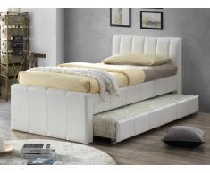Lit gigogne ANDREA - 2x90x190cm - Simili blanc