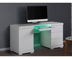 Bureau PLUTON - MDF laqué blanc - LEDs - 1 porte & 3 tiroirs
