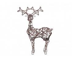 Décoration de Noël extérieur lumineuse renne RENSDYR - Leds et Rotin - 66 x 24 x 91cm
