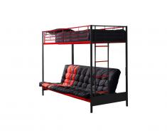 Lit mezzanine MODULO IV - 90 x 190 cm - Avec banquette convertible - Métal - Noir et Rouge + Futon noir et rouge 135 x 190 cm