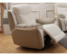Fauteuil relax électrique en cuir LUGO - Bicolore blanc et beige