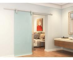 Porte coulissante en applique CLEAVER - H205 x L73 cm - Verre trempé