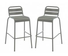 Lot de 2 chaises de bar de jardin empilables MIRMANDE en métal - Gris