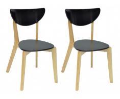 Lot de 2 chaises scandinaves KATERINA - MDF & Bois - Noir