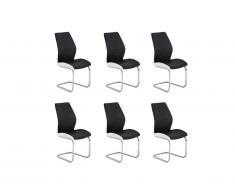 Lot de 6 chaises TYLIO en simili - Noir & blanc
