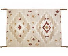 Tapis kilim tissé main en laine KIAN - 200x290cm - Beige clair, touches orangées