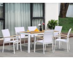 Salle à manger de jardin VAIAKU en aluminium et en acacia : une table L160cm et 6 fauteuils empilables - Blanc