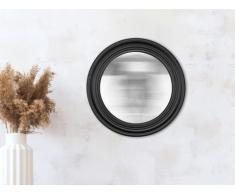 Miroir rond sorcière style art déco JAY - Résine - 48 x 48 x 7 cm - Noir