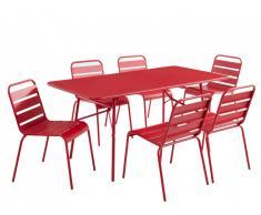Salle à manger de jardin MIRMANDE en métal - une table L.160cm et 6 chaises empilables - Rouge