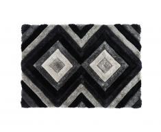 Tapis shaggy effet 3D SABLIER - polyester - 200 x 290 cm -Gris noir et blanc