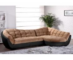 Canapé d'angle tissu et cuir LEANDRO - Caramel et noir - Angle droit