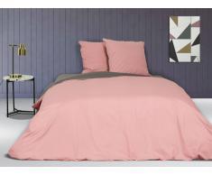 Parure de lit en percale IONESCO - housse de couette 240 x 260 cm - 2 taies d'oreiller 65 x 65 cm - Rose et gris