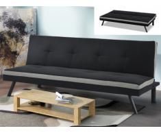 Canapé clic clac en tissu SKALA - Noir et bande gris clair