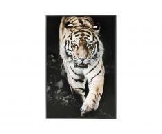 Photo encadrée tigre ROAR - 60 x 90 x 2,5 cm - noir, blanc et marron