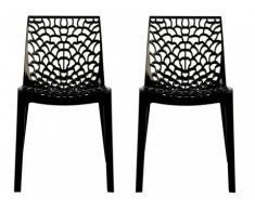 Lot de 2 chaises empilables DIADEME - Polypropylène - Gris anthracite