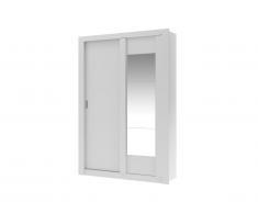 Armoire PETTERI - 2 portes coulissantes - Avec miroir - L.152 cm - Blanc