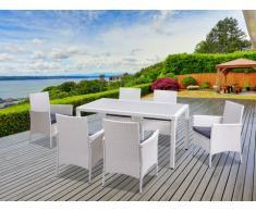 Salle à manger de jardin PALAWAN en résine tressée blanche: une table + 6 fauteuils - assise grise